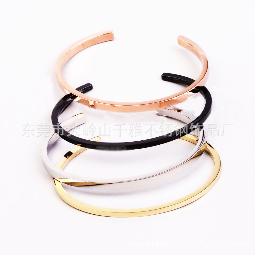 Stainless Steel Rose Gold Plating Personality Engrave Custom ID Name Fashion Bracelet Jewelry