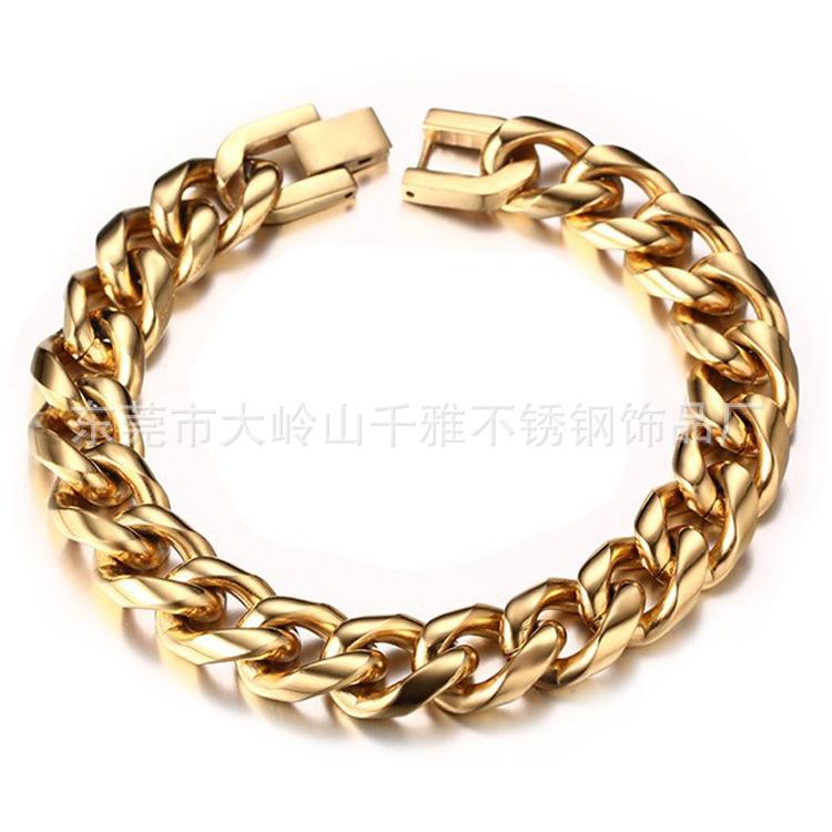 Golden stainless steel round grinding Bracelet