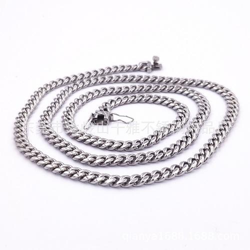 古巴不锈钢圆磨加密项链 钛钢铸造头项链6mm-18mm