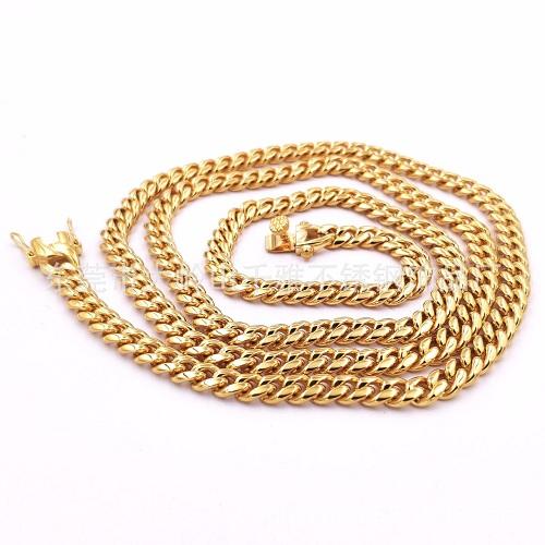 金色古巴不锈钢圆磨加密项链 18K金钛钢铸造头项链6mm-18mm